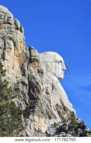 George Washington At Mount Rushmore National Monument.
