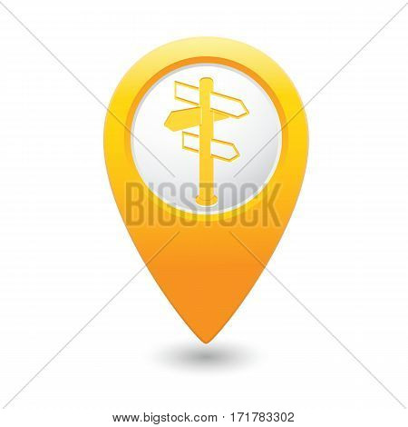 Road sign icon on the yellow map pointer