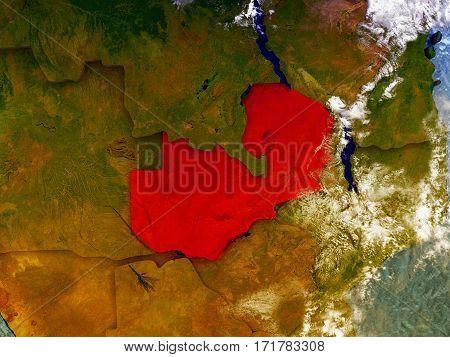 Zambia On Illustrated Globe