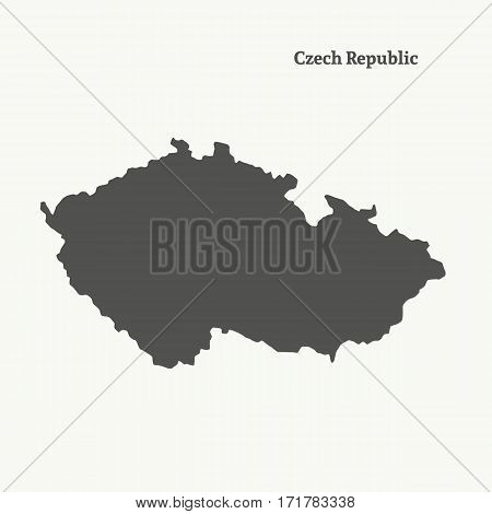 Outline map of Czech Republic. Isolated vector illustration.