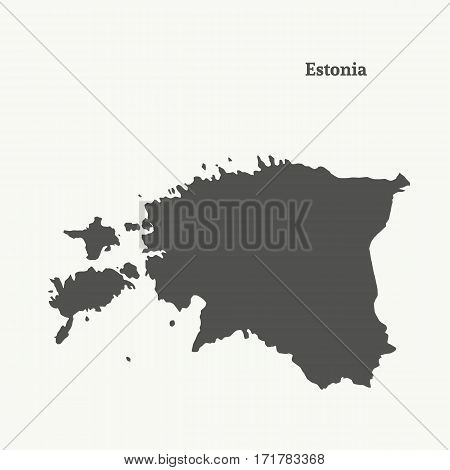 Outline map of Estonia. Isolated vector illustration.