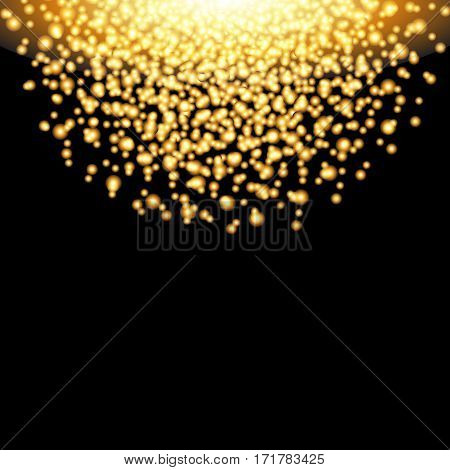 Falling glow gold particles on black background. Luxury design. Holiday nightclub party card. Vector illustration