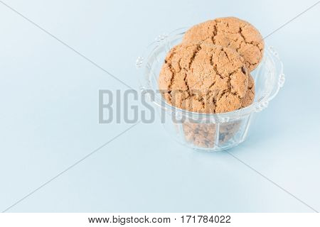Chocolate chip cookies in a glass cup