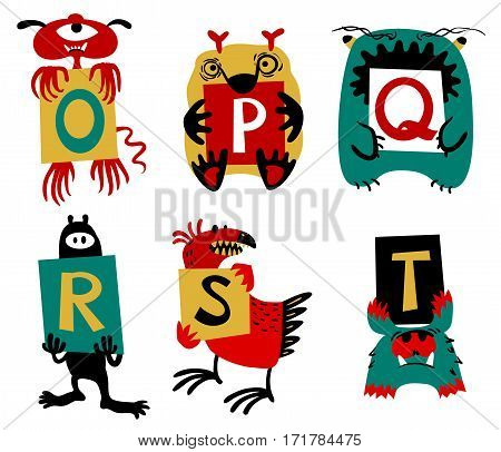 Kids alphabet with сcute colorful monsters or insects. Funny fictional character with letters in their paws. Vector illustration for school and education