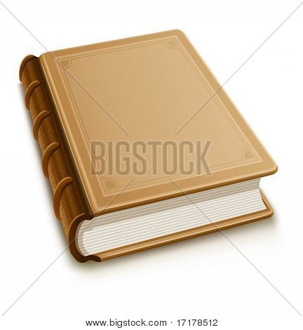 Old book with blank cover - vector illustration