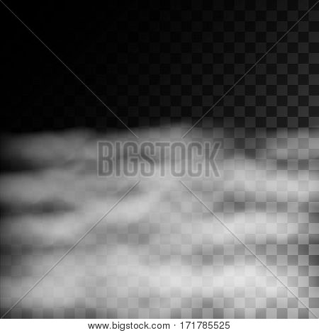 Fog or smoke isolated on transparent background. White vector cloudiness mist or smog. Vector illustration