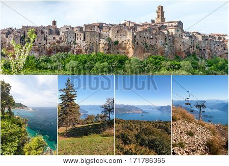 Panorama of the Pitigliano - city on clif in Italy and Lago Maggiore, collage