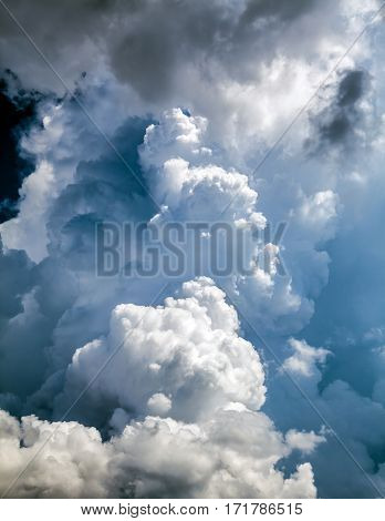 Dramatic Storm Clouds Area Background with Sunlight