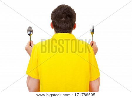 Rear View of a Man with Cutlery Isolated on the White Backgroun