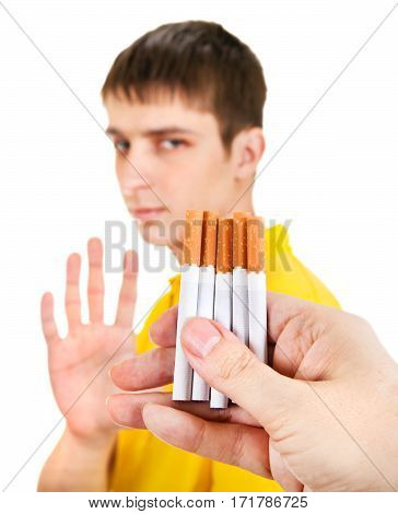 Young Man deny a Cigarettes Isolated on the White Background