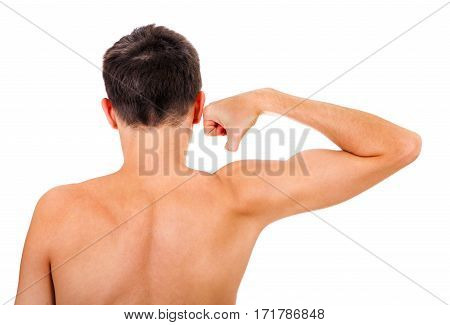 Rear view of the Man Muscle Flexing Isolated on the White Background