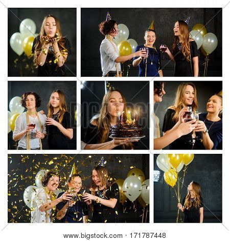 Happy birthday. Young women celebrate the day of a friend's birthday. Greetings presents birthday cake. Wonderful party.