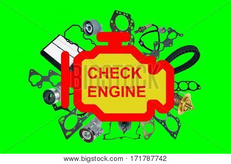 Check engine light symbol. Image of auto spare parts on white background