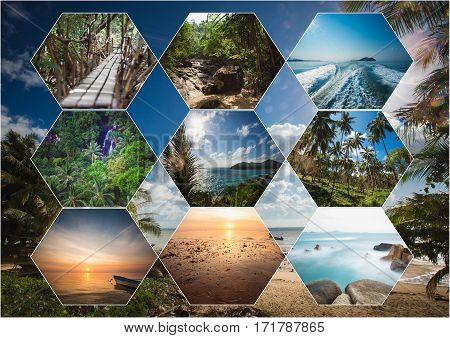 The collage of Thailand images. Trip concept