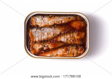 Sardines in tomato sauce on a white background horizontal