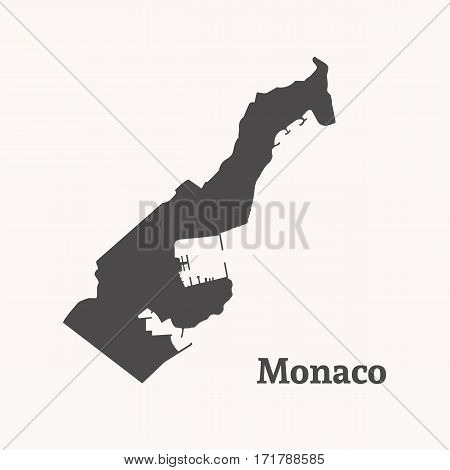 Outline map of Monaco. Isolated vector illustration.
