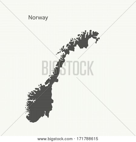 Outline map of Norway. Isolated vector illustration.