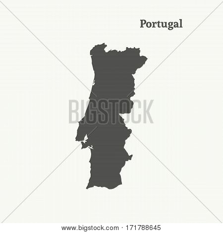Outline map of Portugal. Isolated vector illustration.