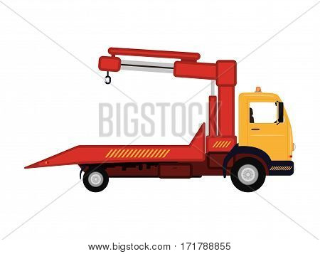 Vector illustration cartoon tow truck. Isolated white background. The concept of service of evacuation. Wrecking car side view profile. Icon logo tow truck. Flat style. Car evacuator. Vehicle towing.
