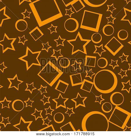 Star seamless pattern. Yellow stars on dark background abstract wallpaper. Vector illustration. Decorative retro backdrop.