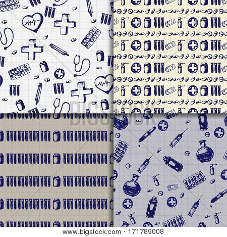 Four healthcare and medicine backgrounds. Vector doodle seamless pattern set with thermometer, heart, cross, syringe, test tubes and pills. Medical hand drawn icons on checkered background.