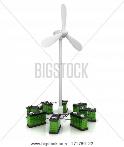 3D render. Wind turbine to charge accumulators on white background