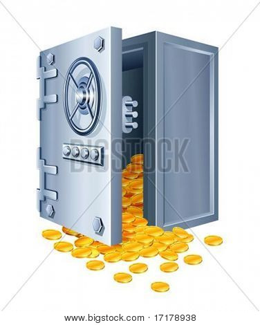 open safe with gold coins vector illustration isolated on white background