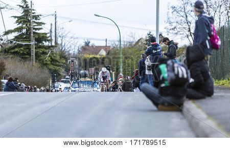 Conflans-Sainte-HonorineFrance-March 62016: The Dutch cyclist Boy van Poppel of Trek-Segafredo Team riding during the prologue stage of Paris-Nice 2016.