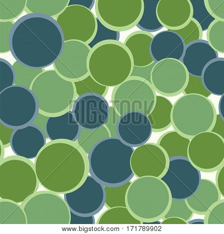 Green blue circles seamless pattern. Abstract decorative background. Vector illustration. Geometric element backdrop.