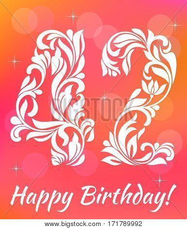 Bright Greeting Card Template. Celebrating 42 Years Birthday. De