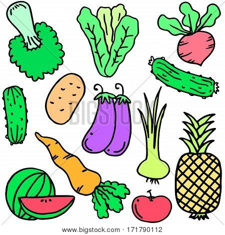 Illustration of vegetable set object collection stock