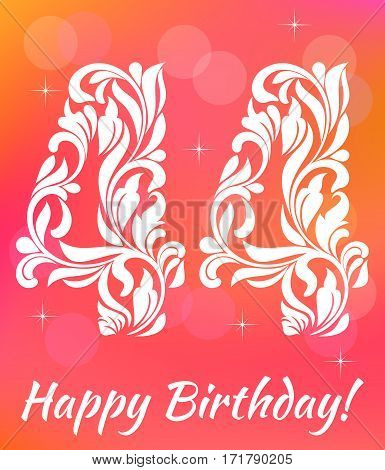 Bright Greeting Card Template. Celebrating 44 Years Birthday. De