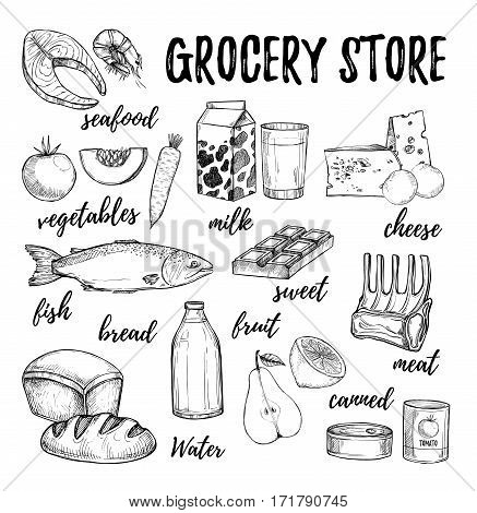 Hand Drawn Vector Illustration - Collection Of Grocery Elements. Supermarket And Grocery Store. Desi
