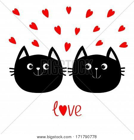 Two black cat head couple family icon. Red heart set. Cute funny cartoon character. Valentines day Love text Greeting card. Kitty Whisker Baby pet collection. White background. Isolated. Flat Vector