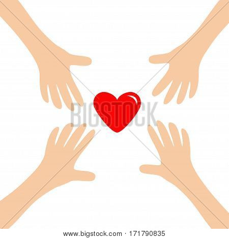 Four Hands arms reaching to red shining heart shape sign. Helping hand. Close up body part. Happy Valentines day. Greeting card. Flat design. Find love concept White background. Isolated. Vector