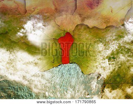 Benin On Illustrated Globe