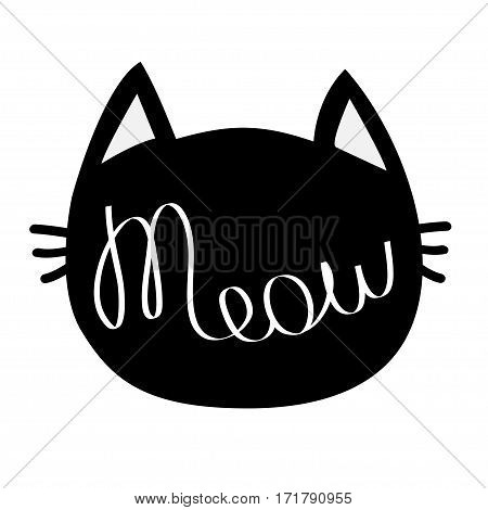 Black cat head. Meow lettering contour text. Cute cartoon character silhouette. Kawaii animal icon. Baby pet collection. Sign Symbol. Flat design style. White background. Isolated. Vector illustration