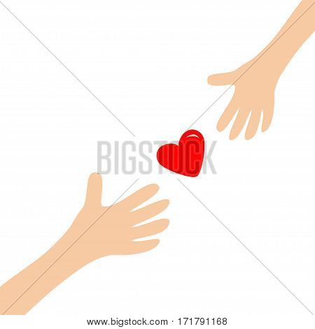 Hands arms reaching to each other red shining heart shape sign. Helping hand. Close up body part. Happy Valentines day. Greeting card. Flat design. Love gift concept White background. Isolated. Vector