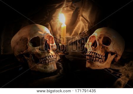 Candle With Skull On Black Background ,still Life, Healthy