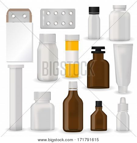 Bottle pack template mockup blank pharmaceutical blister of pills and capsules tube container for drugs clean plastic packaging for medication vector illustration. Set realistic package design.