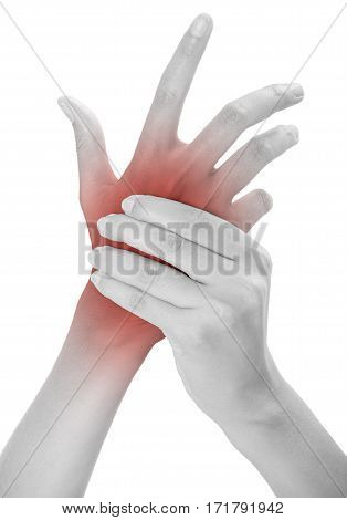 woman holding her beautiful healthy back hand side and massaging in pain area black and white color with red highlighted Isolated on white background.