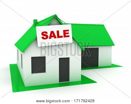 Little whte house with green roof for Sale. 3D render.