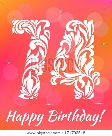 Bright Greeting card Template. Celebrating 74 years birthday. Decorative Font with swirls and floral elements.