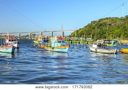 Vila Velha , Brazil - December 26Th , 2016 ;fishing  Boats  Storage Facility In Vila Velha On Prainh