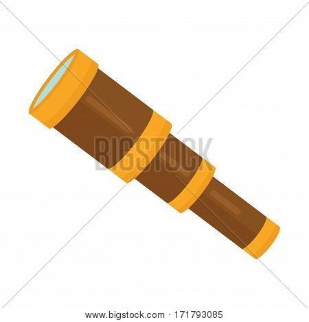 Spyglass brass handheld telescope on white background. Magnification observe vision old ancient retro equipment. Navigation binoculars antique cartoon vector. poster