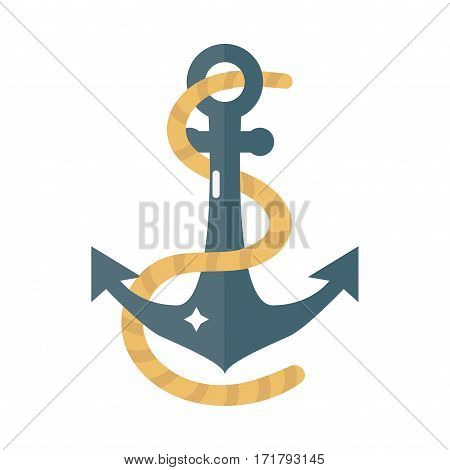 Anchor nautical and sailing themed label or icon with ship insignia template adventure old traditional ribbons. Travel element graphic emblem with ship sign vector illustration.