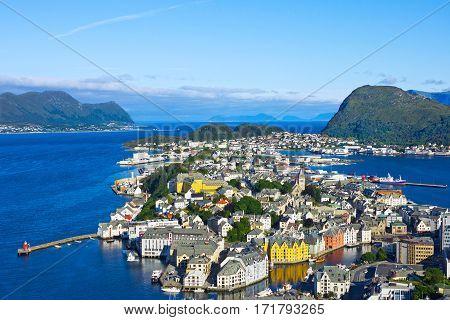 Norwegian town Alesund from Aksla mountain, Norway.