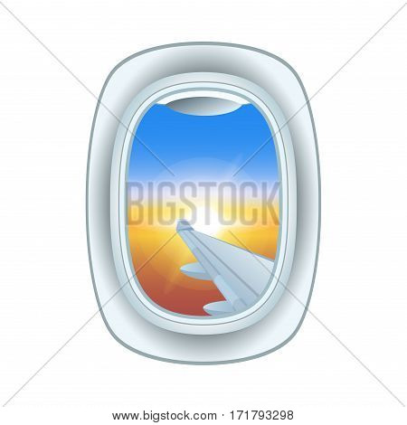 Airplane window landscape cabin view. Looking flying high frame holiday vacation. Commercial airline clouds clean travel cloudscape porthole.
