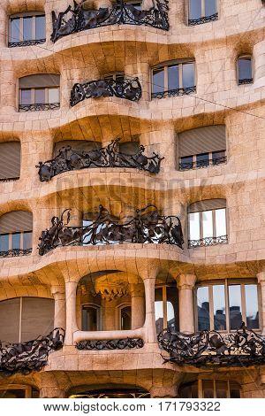 Barcelona, Spain - Jan 8, 2017: Famous house Casa Mila (La Pedrera) by Gaudi.