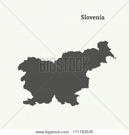 Outline map of Slovenia. Isolated vector illustration.